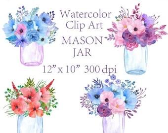 40%SALE Watercolor floral clipart Mason Jars Flower jars clipart wedding invitation floral arrangement greeting card invitation clipart wate