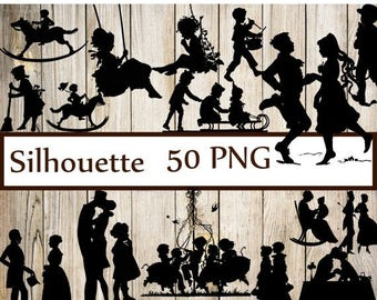 "40%SALE Vintage Silhouettes Clipart: ""SILHOUETTES CLIP Art"" Couple Silhouettes Children silhouettes Wedding silhouettes  Party Silhouettes C"