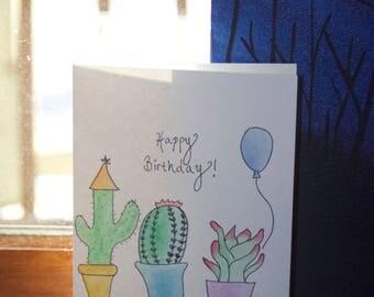 Watercolor Birthday Cactus Card