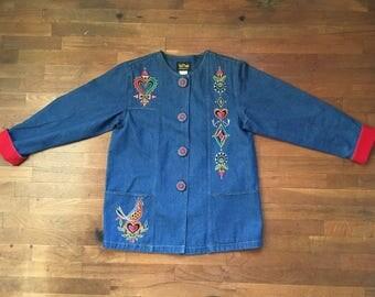 vintage 80s bob mackie wearable art blue jean denim embroidered jacket