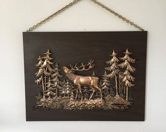 Wooden Brass Stag Art Frame