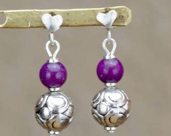 """Earrings heart studs for young ladies """"Kevin"""" Purple dyed jade"""