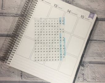 MINI Date Dots - Transparent Stickers SAMPLER, Planner Stickers, Clear Stickers, Icons, for use in any planner, calendar or diary