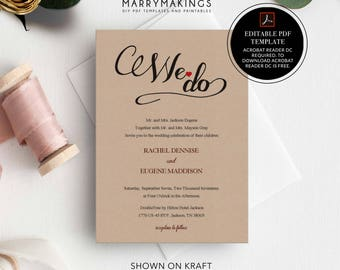 Wedding Template, Printable Wedding, Editable Wedding Template, Wedding Invitation template, download, DIY Wedding template, calligraphy, 12