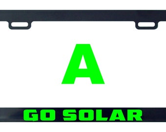 Go solar license plate frame tag holder decal sticker