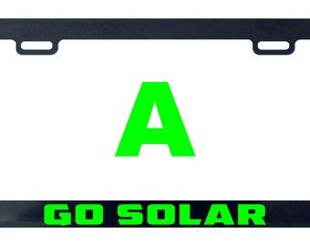 Go solar license plate frame tag holder decal sticker