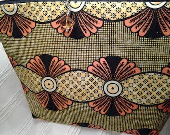 Yellow eye Deco bag, Zippered Orange pedal bag, Crochet Zippered Bright bag
