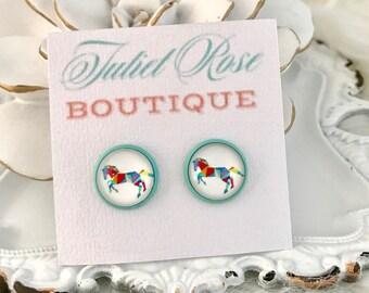 Horse Earrings - Rodeo Earrings - Country Earrings - Animal Earrings - Cowgirl Earrings - Equine Earrings - Women's Earrings - Stud Earrings