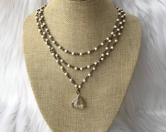 Triple layered crystal necklace