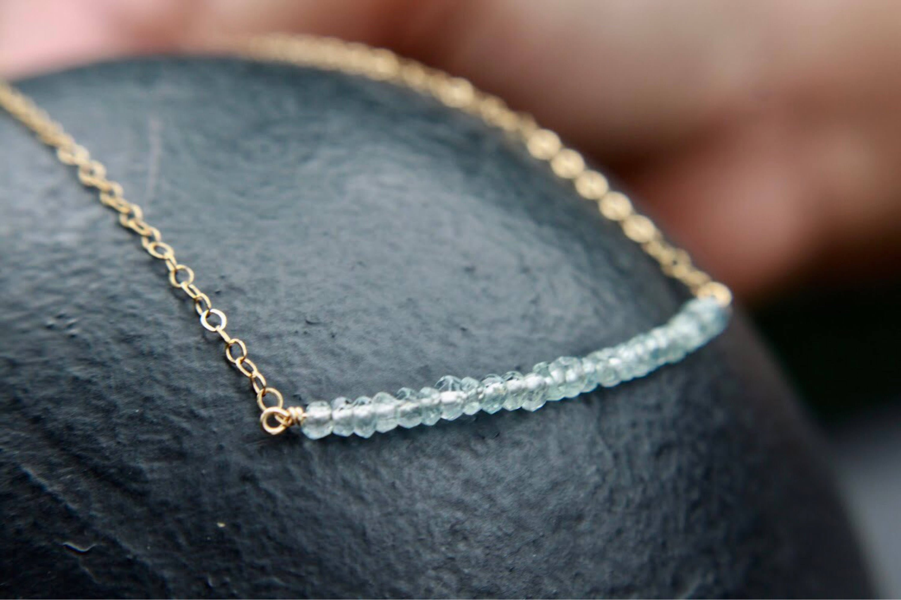 Natural aquamarine faceted beads wire wrapped bar necklace ...