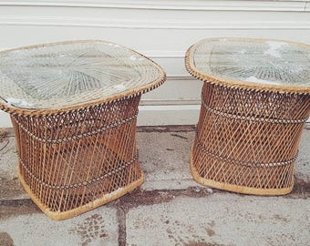 Boho Wicker Sidetables