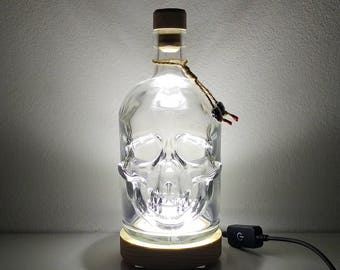 700ml Glass Pirate Skull Head Decanter Bottle with Round Pine Wood LED Display Base by JayEngrave