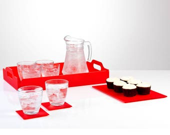 Set of Acrylic Coloured Serving Trays   Perspex Tray Collection   Premium Perspex Acrylic Tray Set   Manufactured in the UK