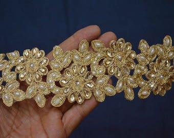 Glass Bead Embellishment Indian Laces and Trims by the Yard Sari Border Saree Border Ribbon Gold Kundan Lace Stone Work / Border / Ribbon
