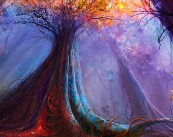 Fall tree Backdrop - fairy tale, red tree, enchanted forest, cartoon - Printed Fabric Photography Background W1270