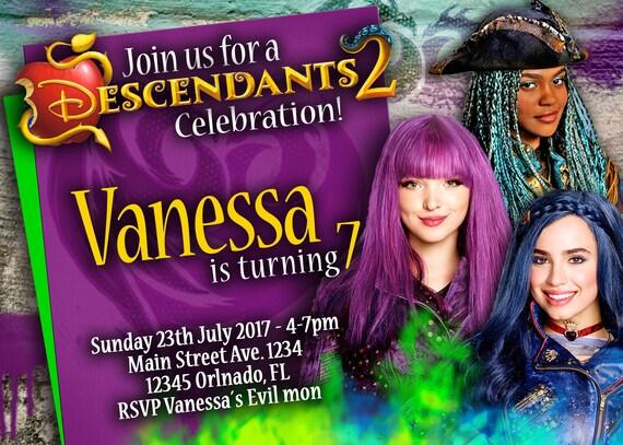 35 OFF Coupon On Birthday Invitation Disney Descendants 2 Girls