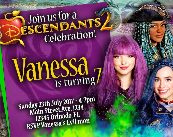 Birthday Invitation Disney Descendants 2 Girls