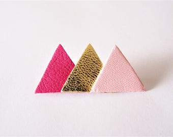 Pin 3 hot pink, gold and light pink leather triangles