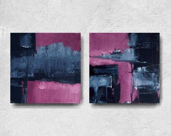 Modern Home Wall Decor Painting Canvas Art, set of 2, diptych original painting, navy blue and pink, Abstract,  Expressionist ,fuchsia