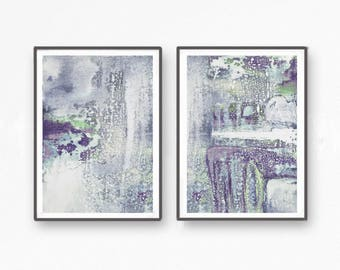 Set of 2 printable  painting, instant download  pastel abstract painting, printable abstract  print set, wall art set, grey, green, violet