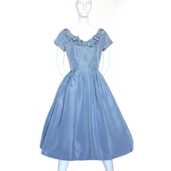THE DREAM - authentic Christian Dior New Look-era silk faille cocktail dress, 1956-1958, modern US size 2-4.