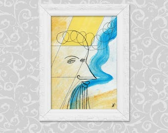 Painting drawing DIN A6 abstract-figurative art