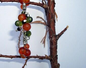 Carnelian (gemstone) Beads Bracelet, swarovski crystal and Bohemian