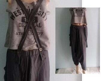 Genie Pants Quality Harem Zen Sports Chic Strap Braces  Jersey Cotton Dark Gray