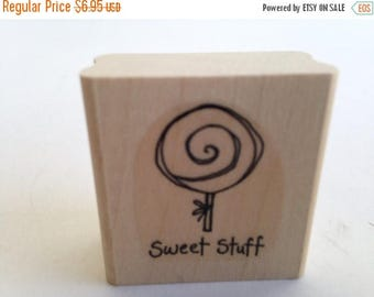 Sweet Stuff Lollipop Swirl - Candy - Yummy Vintage Rubber Stamp - Card Making - Crafts