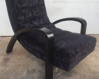 Abstract Upholstered Black Vintage Lounge Chair