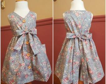 Handmade Dress 'ESTELINA' in Pink flower and Dusty Blue