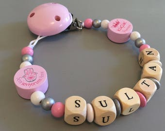 Pacifier clip - pacifier - pacifer clip with name sultan customizable wooden beads