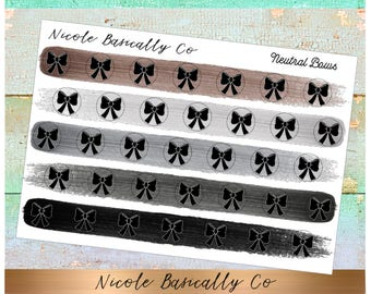 Bow Icons in Neutral Paint Strokes- Planner Stickers