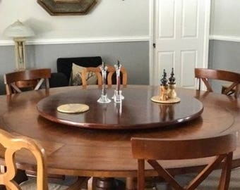 Large Wood Lazy Susan For Dining Table Up To 48 Inch Diameter