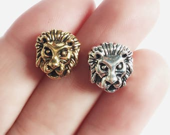 Gold or Silver Lion Bead / Lion Head Round Bead / Animal Charms / 11 x 12 mm / BE100