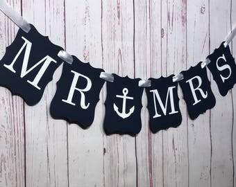 MR & MRS Banner, Mr and Mrs Sign, Nautical Wedding, Anchor Sign, Bridal Shower Decor, Engagement Banner, Engagement Prop, Wedding Banner