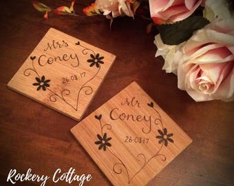 Bride and Groom Coasters, Wooden coasters Mr & Mrs personalised, wood burned drinks coasters, custom coasters perfect for wedding gifts.