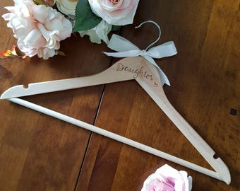 Daughter wooden coat hanger, personalised coat hanger, daughter gift, mother daughter, gifts for girls, dress hanger, bridesmaid hanger,