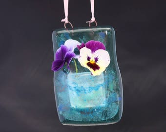 Little hanging vase from glass inspired by the sea