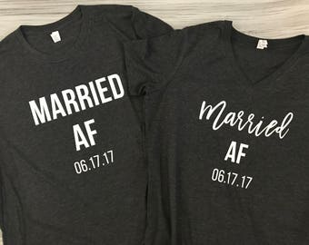 Married AF - Husband and Wife Shirt Set - Just Married shirt set - Wedding gift - Bridal shower gift - Honeymoon shirts - Honeymoon Bound