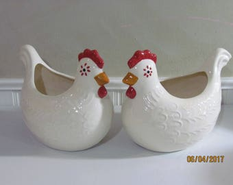 Pair of Chicken Planters