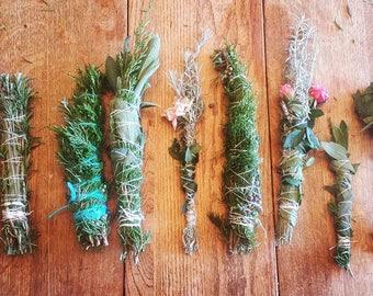 Freshly picked Wildcraft Wildflower Smudge Sage Rose Rosemary Cedar Lavender Prairie flowers Foraging Wildcrafting Wand