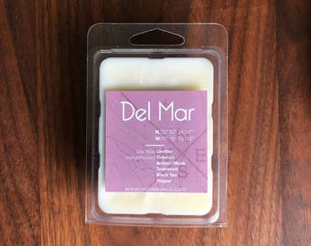 Del Mar || Scented Soy Wax Melts || California || Leather || Tobacco || Amber || Teakwood || Black Tea || Pepper || Masculine
