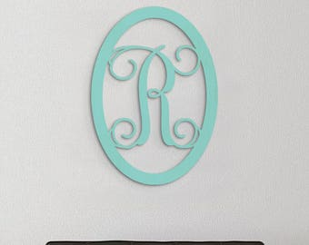 Oval Monogram, Wooden Initial Monogram, Oval Shape Border, Nursery, Wall Decor, Home Decor, Kids Room, Wedding Gift, Wall Hanging