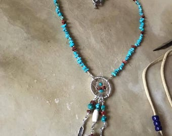 Handmade Genuine Turquoise Gemstone Red Jasper Silver wire wrapped Dream Catcher Necklace jewelry