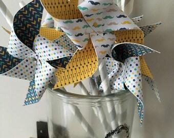 Scandinavian windmills, yellow, green, gray, blue mustaches