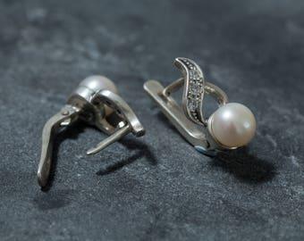 Vintage Pearl Earrings, White Pearl Earrings, Natural Pearl, White Pearl, Vintage Earrings, June Birthstone, June Earrings, Solid Silver