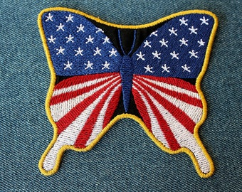 Butterfly ~ USA ~ Patch  ~ Biker patch ~ Motorcycle Patch ~ Embroidered Iron on Patch
