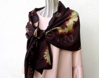 """Etole en soie peinte à la main, hand painted silk scarf, Tie and Dye, brown, marron, from France """"Dark side"""""""