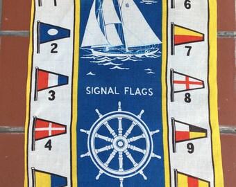 "vintage Fallani & Cohn linen tea towel, nautical theme, sailboat, signal flags, pennants, the Ryans, 28"" x 16"""